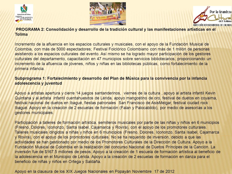 PROGRAMA 2: Consolidación y desarrollo de la tradición cultural y las manifestaciones artísticas en el Tolima Incremento de la afluencia en los espaci