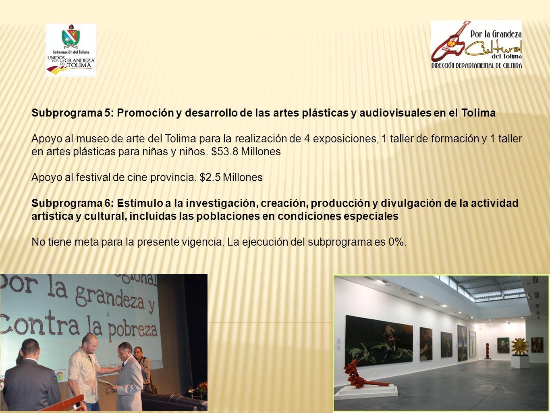 Subprograma 5: Promoción y desarrollo de las artes plásticas y audiovisuales en el Tolima Apoyo al museo de arte del Tolima para la realización de 4 e