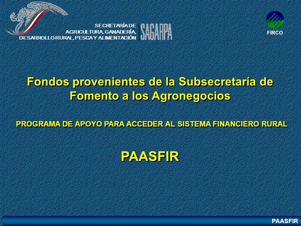 PAASFIR PROGRAMA DE APOYO PARA ACCEDER AL SISTEMA FINANCIERO RURAL PAASFIR Fondos provenientes de la Subsecretaría de Fomento a los Agronegocios SECRE