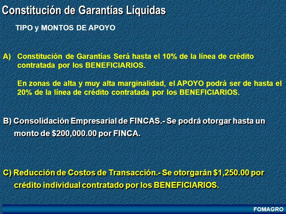 FOMAGRO Constitución de Garantías Líquidas C) Reducción de Costos de Transacción.- Se otorgarán $1,250.00 por crédito individual contratado por los BE