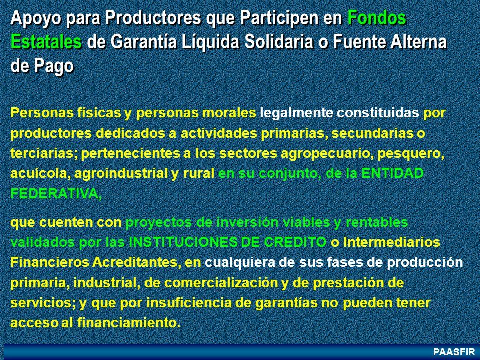 PAASFIR Apoyo para Productores que Participen en Fondos Estatales de Garantía Líquida Solidaria o Fuente Alterna de Pago Personas físicas y personas m