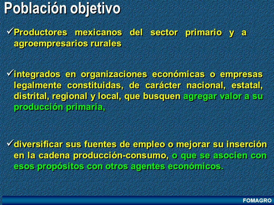 FOMAGRO Población objetivo diversificar sus fuentes de empleo o mejorar su inserción en la cadena producción-consumo, o que se asocien con esos propós