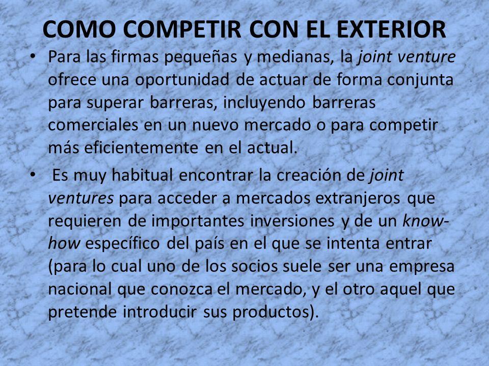 COMO COMPETIR CON EL EXTERIOR Para las firmas pequeñas y medianas, la joint venture ofrece una oportunidad de actuar de forma conjunta para superar ba