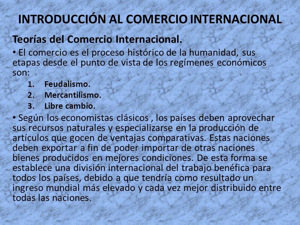 INTRODUCCIÓN AL COMERCIO INTERNACIONAL Teorías del Comercio Internacional. El comercio es el proceso histórico de la humanidad, sus etapas desde el pu