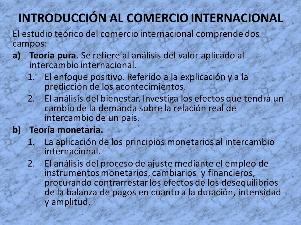 INTRODUCCIÓN AL COMERCIO INTERNACIONAL El estudio teórico del comercio internacional comprende dos campos: a)Teoría pura. Se refiere al análisis del v
