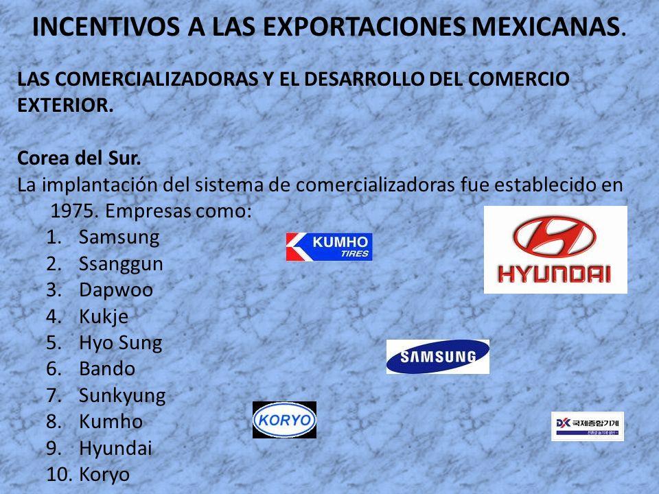 INCENTIVOS A LAS EXPORTACIONES MEXICANAS. LAS COMERCIALIZADORAS Y EL DESARROLLO DEL COMERCIO EXTERIOR. Corea del Sur. La implantación del sistema de c