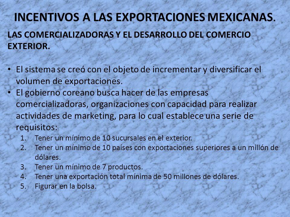INCENTIVOS A LAS EXPORTACIONES MEXICANAS. LAS COMERCIALIZADORAS Y EL DESARROLLO DEL COMERCIO EXTERIOR. El sistema se creó con el objeto de incrementar