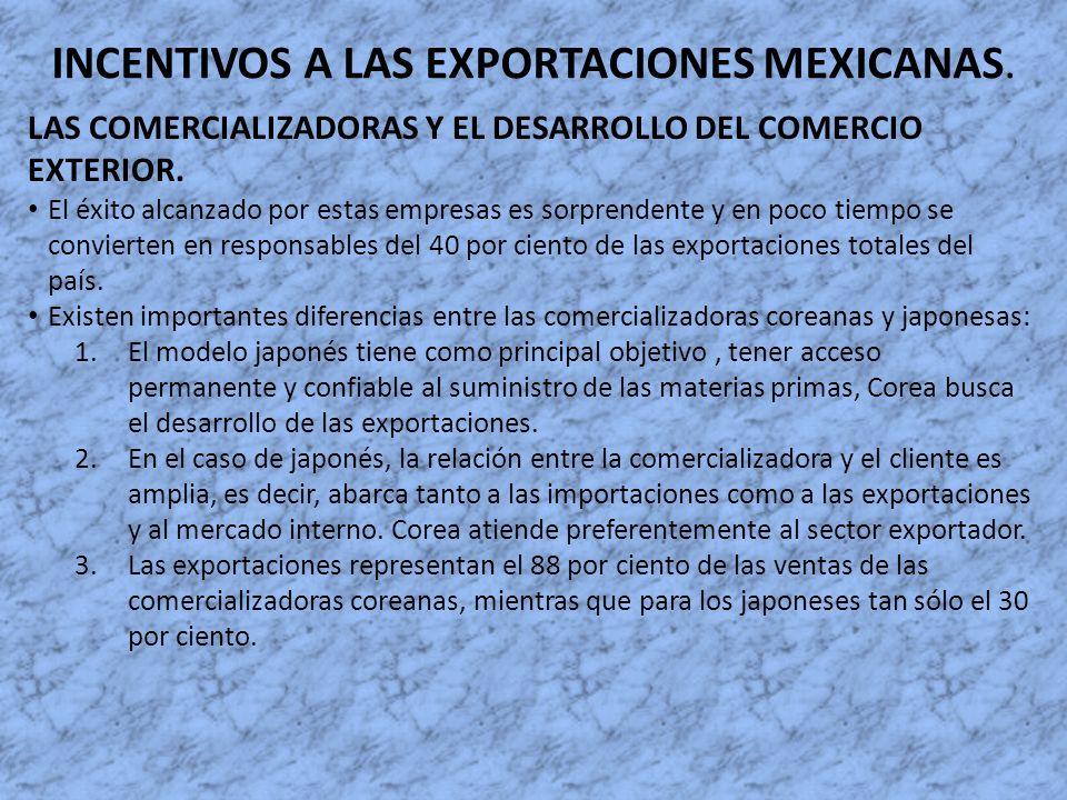 INCENTIVOS A LAS EXPORTACIONES MEXICANAS. LAS COMERCIALIZADORAS Y EL DESARROLLO DEL COMERCIO EXTERIOR. El éxito alcanzado por estas empresas es sorpre