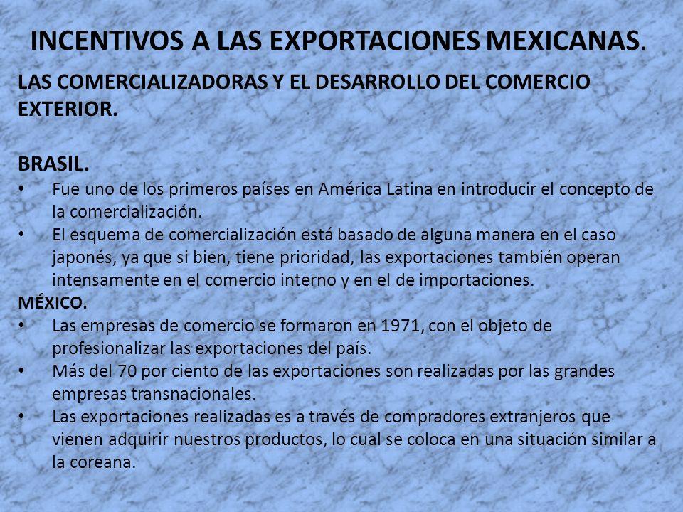 INCENTIVOS A LAS EXPORTACIONES MEXICANAS. LAS COMERCIALIZADORAS Y EL DESARROLLO DEL COMERCIO EXTERIOR. BRASIL. Fue uno de los primeros países en Améri