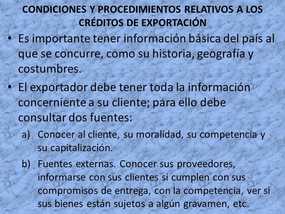 CONDICIONES Y PROCEDIMIENTOS RELATIVOS A LOS CRÉDITOS DE EXPORTACIÓN Es importante tener información básica del país al que se concurre, como su histo