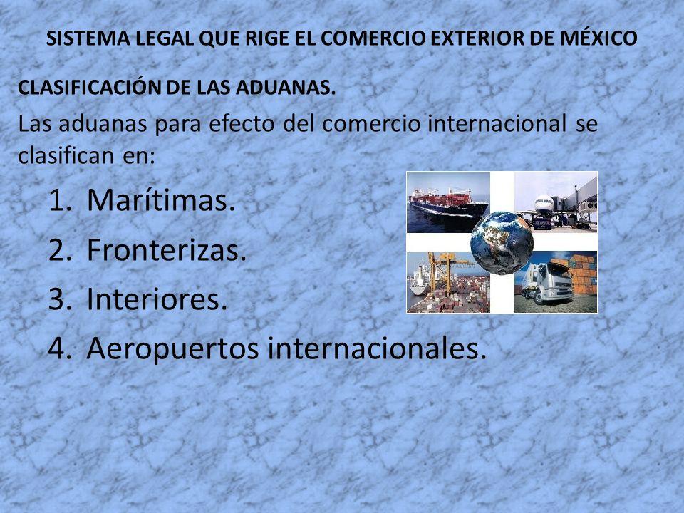 SISTEMA LEGAL QUE RIGE EL COMERCIO EXTERIOR DE MÉXICO CLASIFICACIÓN DE LAS ADUANAS. Las aduanas para efecto del comercio internacional se clasifican e