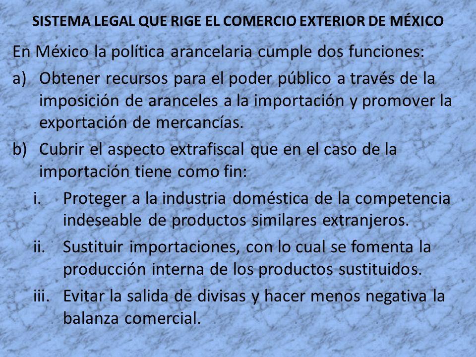 SISTEMA LEGAL QUE RIGE EL COMERCIO EXTERIOR DE MÉXICO En México la política arancelaria cumple dos funciones: a)Obtener recursos para el poder público