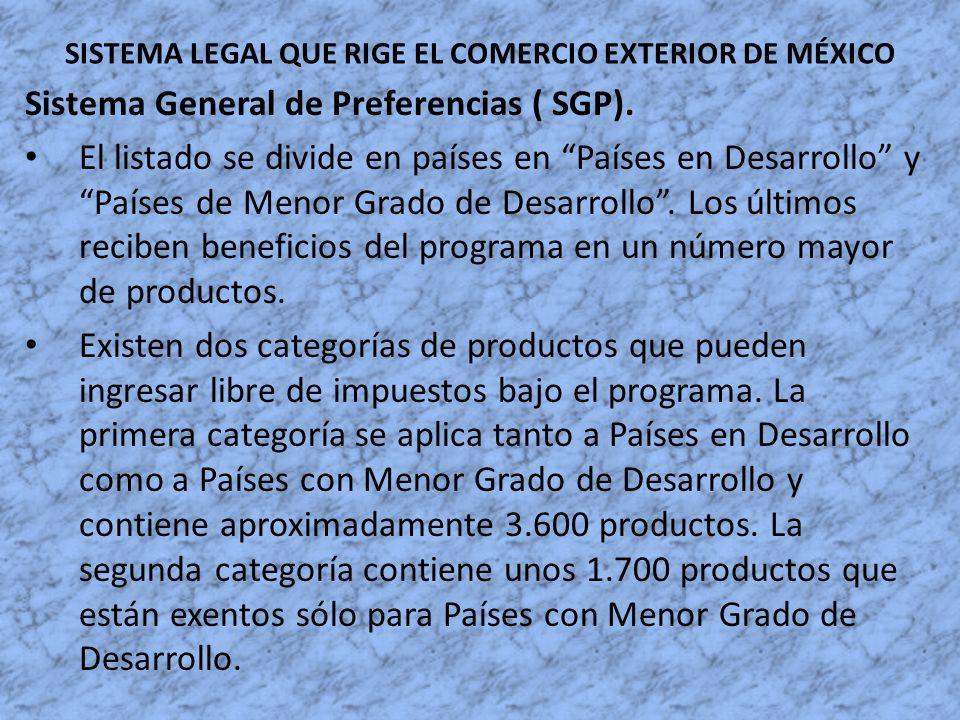 SISTEMA LEGAL QUE RIGE EL COMERCIO EXTERIOR DE MÉXICO Sistema General de Preferencias ( SGP). El listado se divide en países en Países en Desarrollo y
