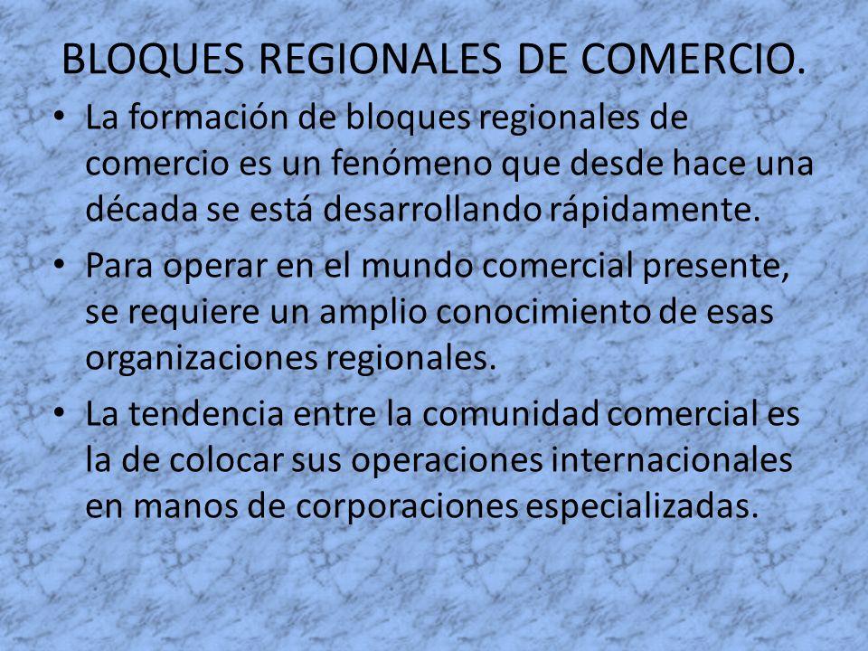 BLOQUES REGIONALES DE COMERCIO. La formación de bloques regionales de comercio es un fenómeno que desde hace una década se está desarrollando rápidame