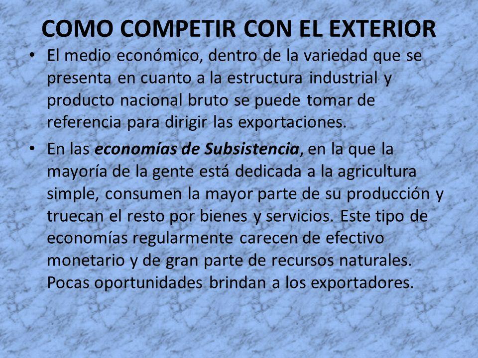COMO COMPETIR CON EL EXTERIOR El medio económico, dentro de la variedad que se presenta en cuanto a la estructura industrial y producto nacional bruto