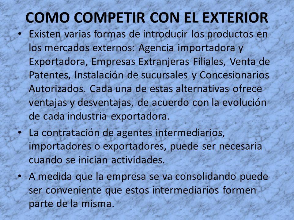 COMO COMPETIR CON EL EXTERIOR Existen varias formas de introducir los productos en los mercados externos: Agencia importadora y Exportadora, Empresas