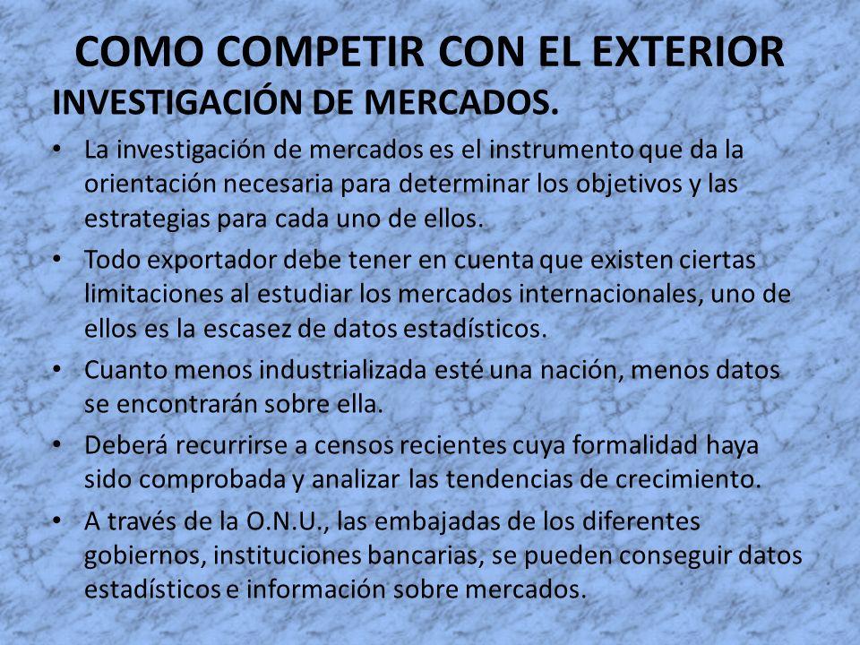 COMO COMPETIR CON EL EXTERIOR INVESTIGACIÓN DE MERCADOS. La investigación de mercados es el instrumento que da la orientación necesaria para determina