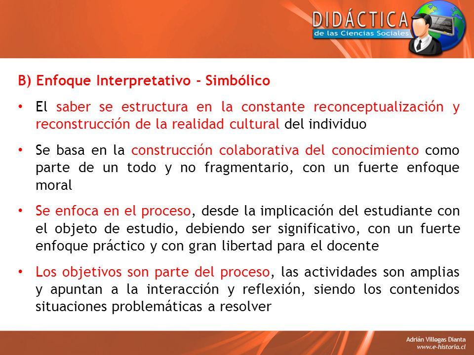 B) Enfoque Interpretativo - Simbólico El saber se estructura en la constante reconceptualización y reconstrucción de la realidad cultural del individu