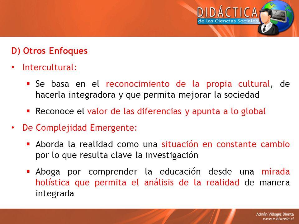 D) Otros Enfoques Intercultural: Se basa en el reconocimiento de la propia cultural, de hacerla integradora y que permita mejorar la sociedad Reconoce