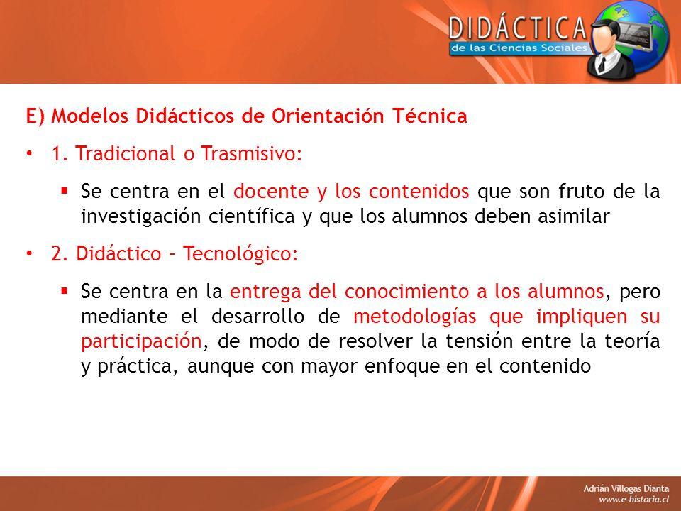 E) Modelos Didácticos de Orientación Técnica 1. Tradicional o Trasmisivo: Se centra en el docente y los contenidos que son fruto de la investigación c