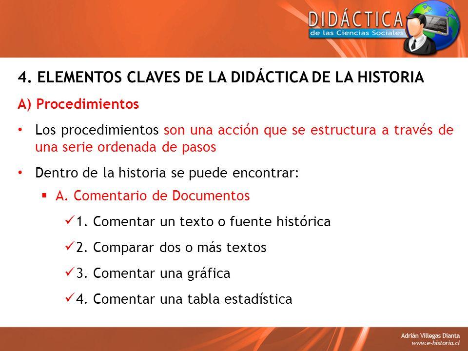 4. ELEMENTOS CLAVES DE LA DIDÁCTICA DE LA HISTORIA A) Procedimientos Los procedimientos son una acción que se estructura a través de una serie ordenad
