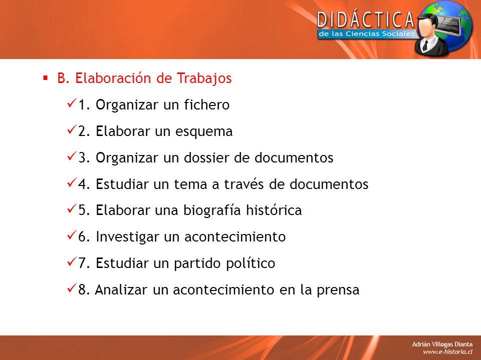 B. Elaboración de Trabajos 1. Organizar un fichero 2. Elaborar un esquema 3. Organizar un dossier de documentos 4. Estudiar un tema a través de docume