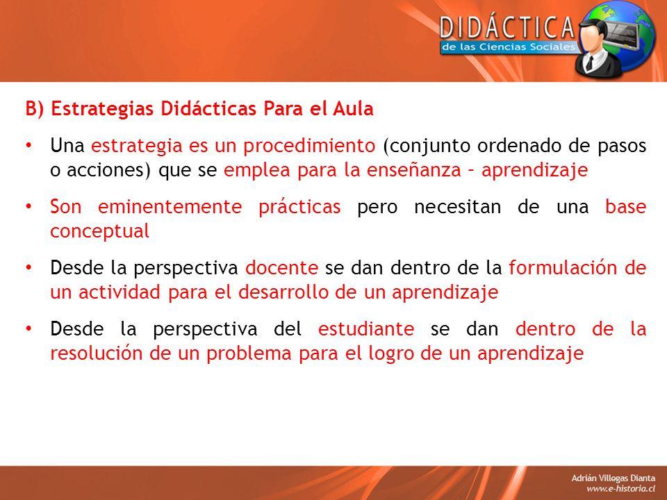 B) Estrategias Didácticas Para el Aula Una estrategia es un procedimiento (conjunto ordenado de pasos o acciones) que se emplea para la enseñanza – ap