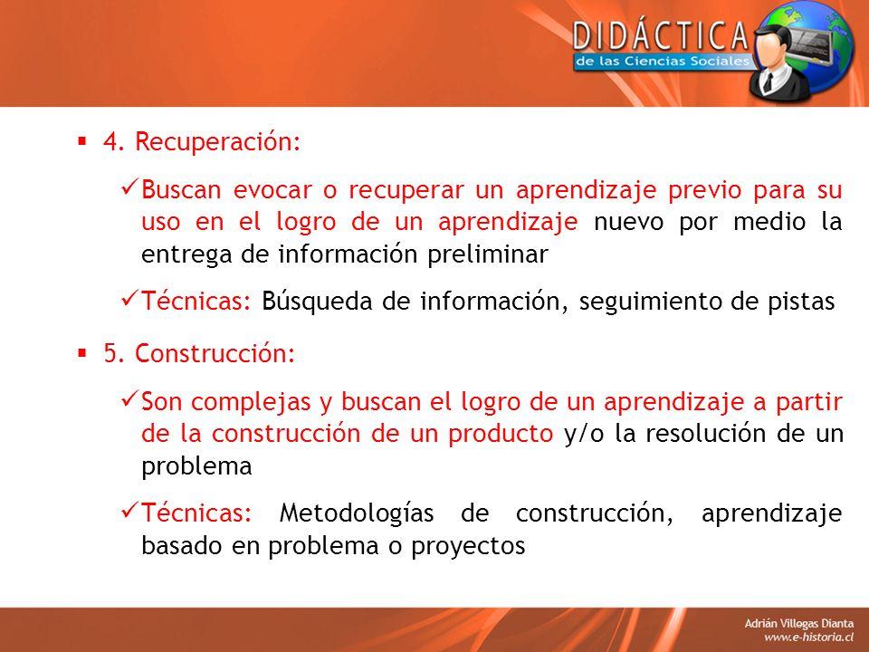 4. Recuperación: Buscan evocar o recuperar un aprendizaje previo para su uso en el logro de un aprendizaje nuevo por medio la entrega de información p