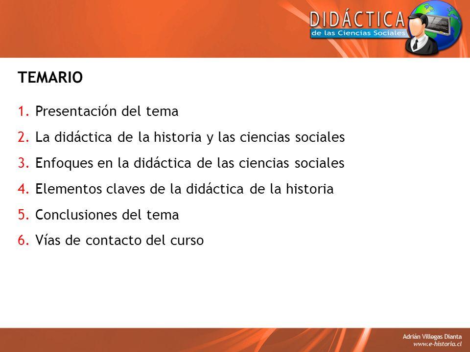 TEMARIO 1.Presentación del tema 2.La didáctica de la historia y las ciencias sociales 3.Enfoques en la didáctica de las ciencias sociales 4.Elementos
