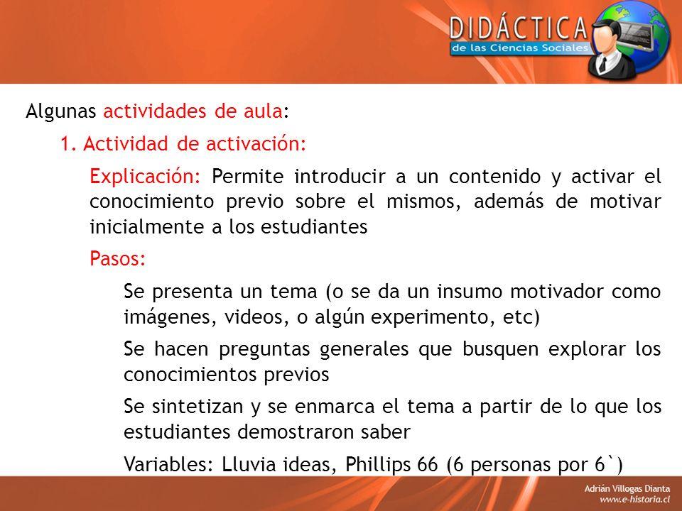 Algunas actividades de aula: 1. Actividad de activación: Explicación: Permite introducir a un contenido y activar el conocimiento previo sobre el mism