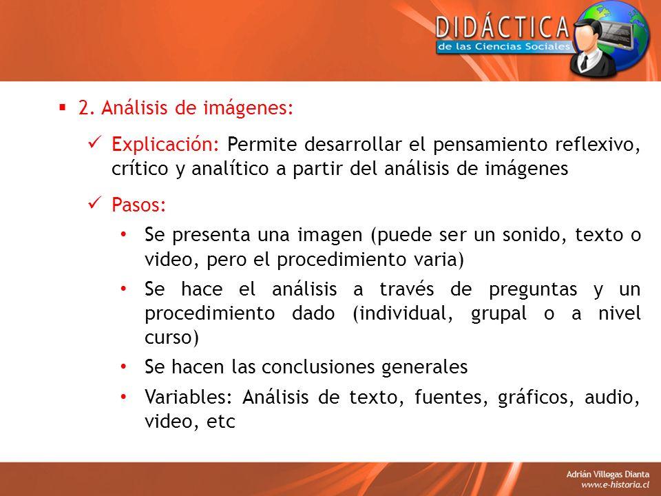 2. Análisis de imágenes: Explicación: Permite desarrollar el pensamiento reflexivo, crítico y analítico a partir del análisis de imágenes Pasos: Se pr