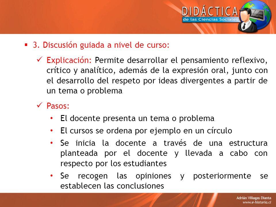 3. Discusión guiada a nivel de curso: Explicación: Permite desarrollar el pensamiento reflexivo, crítico y analítico, además de la expresión oral, jun