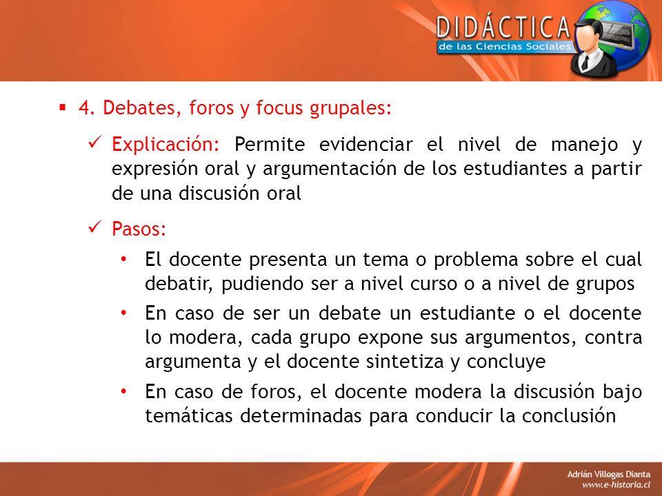 4. Debates, foros y focus grupales: Explicación: Permite evidenciar el nivel de manejo y expresión oral y argumentación de los estudiantes a partir de