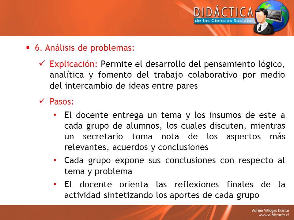 6. Análisis de problemas: Explicación: Permite el desarrollo del pensamiento lógico, analítica y fomento del trabajo colaborativo por medio del interc
