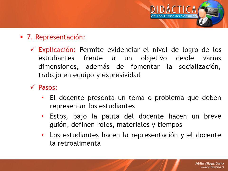 7. Representación: Explicación: Permite evidenciar el nivel de logro de los estudiantes frente a un objetivo desde varias dimensiones, además de fomen
