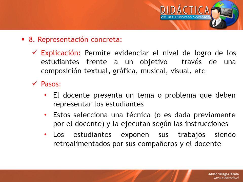 8. Representación concreta: Explicación: Permite evidenciar el nivel de logro de los estudiantes frente a un objetivo través de una composición textua