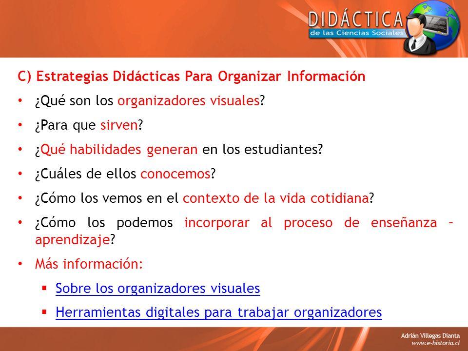 C) Estrategias Didácticas Para Organizar Información ¿Qué son los organizadores visuales? ¿Para que sirven? ¿Qué habilidades generan en los estudiante