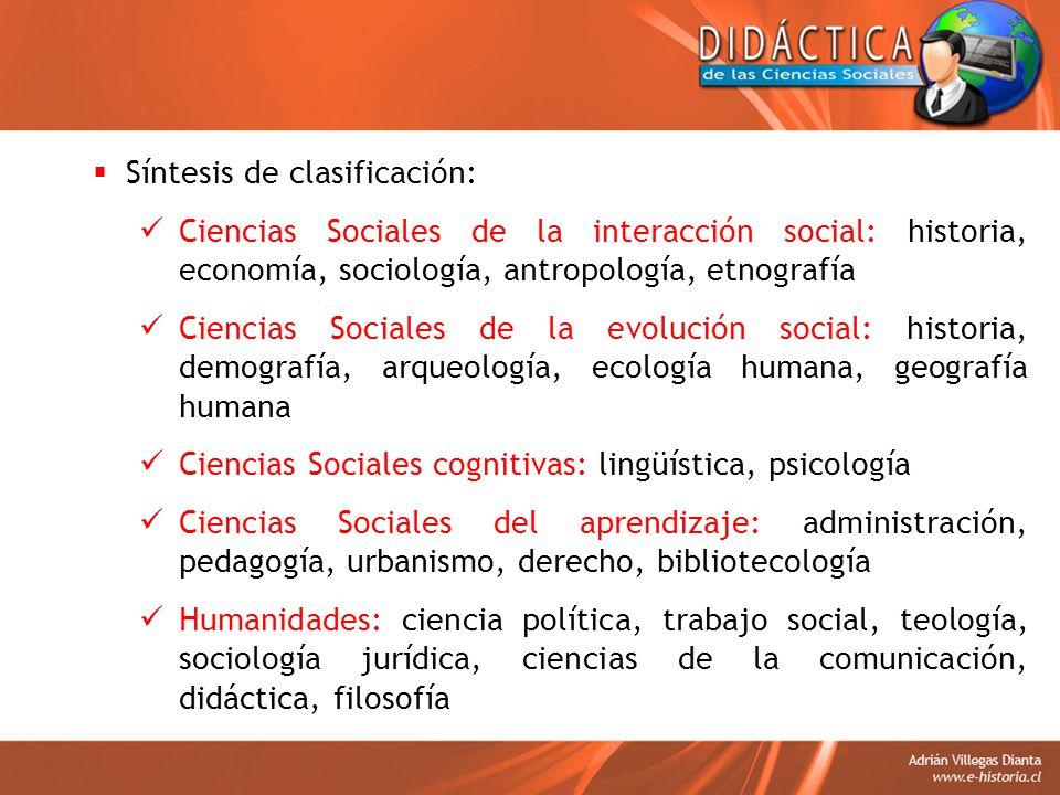 Síntesis de clasificación: Ciencias Sociales de la interacción social: historia, economía, sociología, antropología, etnografía Ciencias Sociales de l