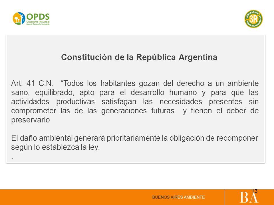 Constitución de la República Argentina Art. 41 C.N. Todos los habitantes gozan del derecho a un ambiente sano, equilibrado, apto para el desarrollo hu