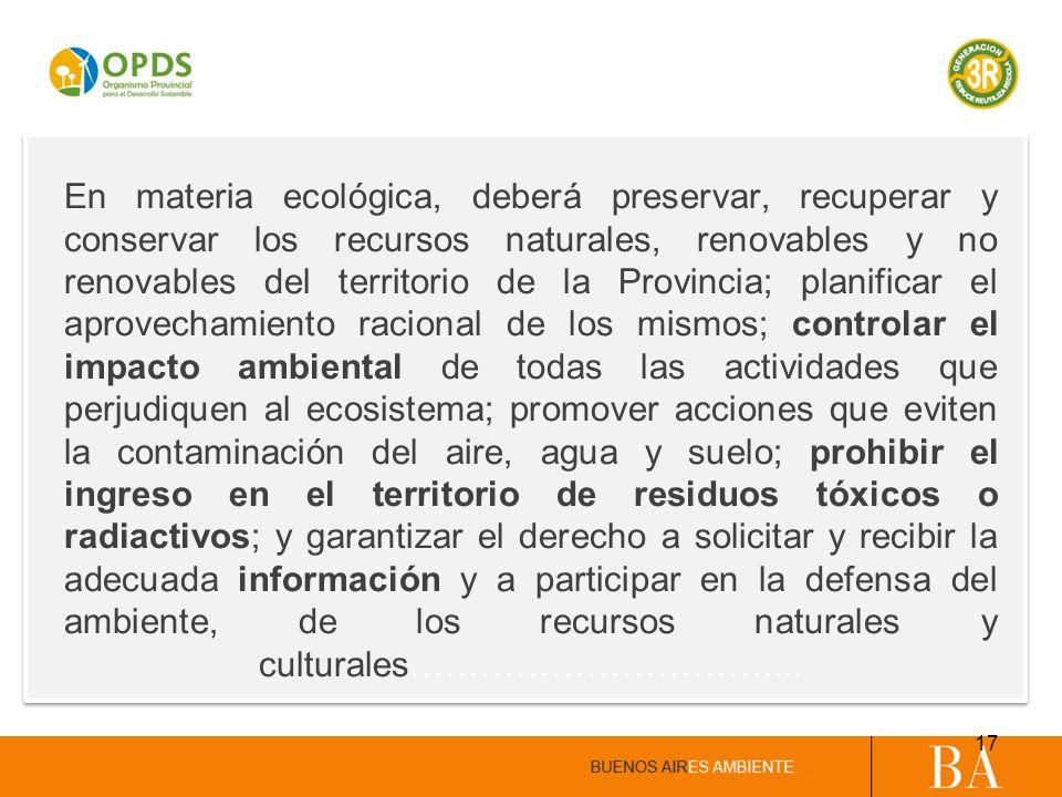 En materia ecológica, deberá preservar, recuperar y conservar los recursos naturales, renovables y no renovables del territorio de la Provincia; plani