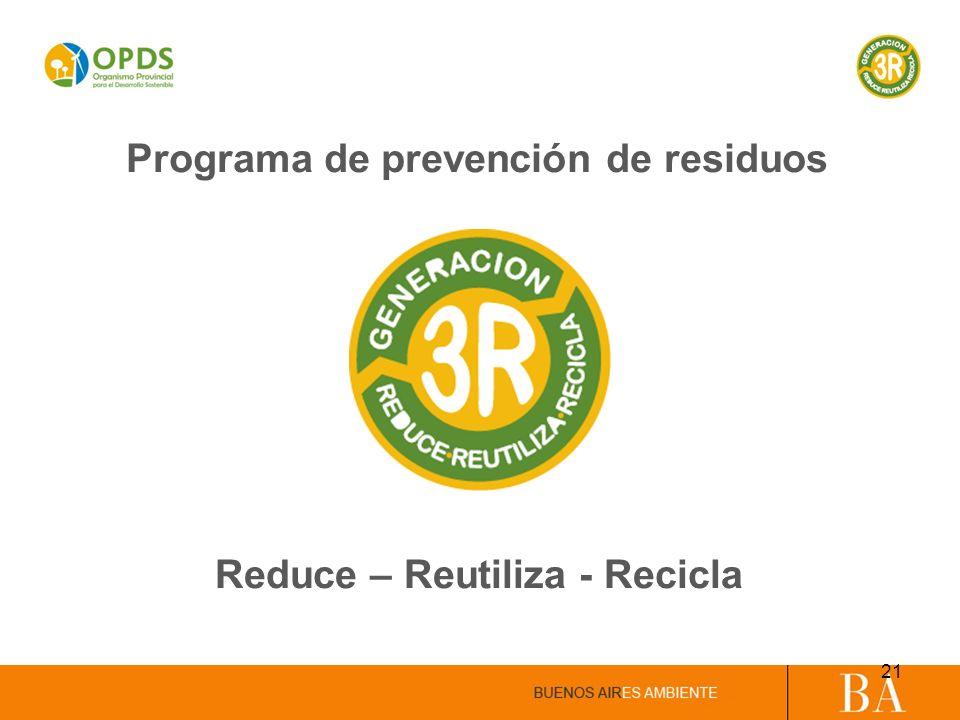 Programa de prevención de residuos Reduce – Reutiliza - Recicla 21