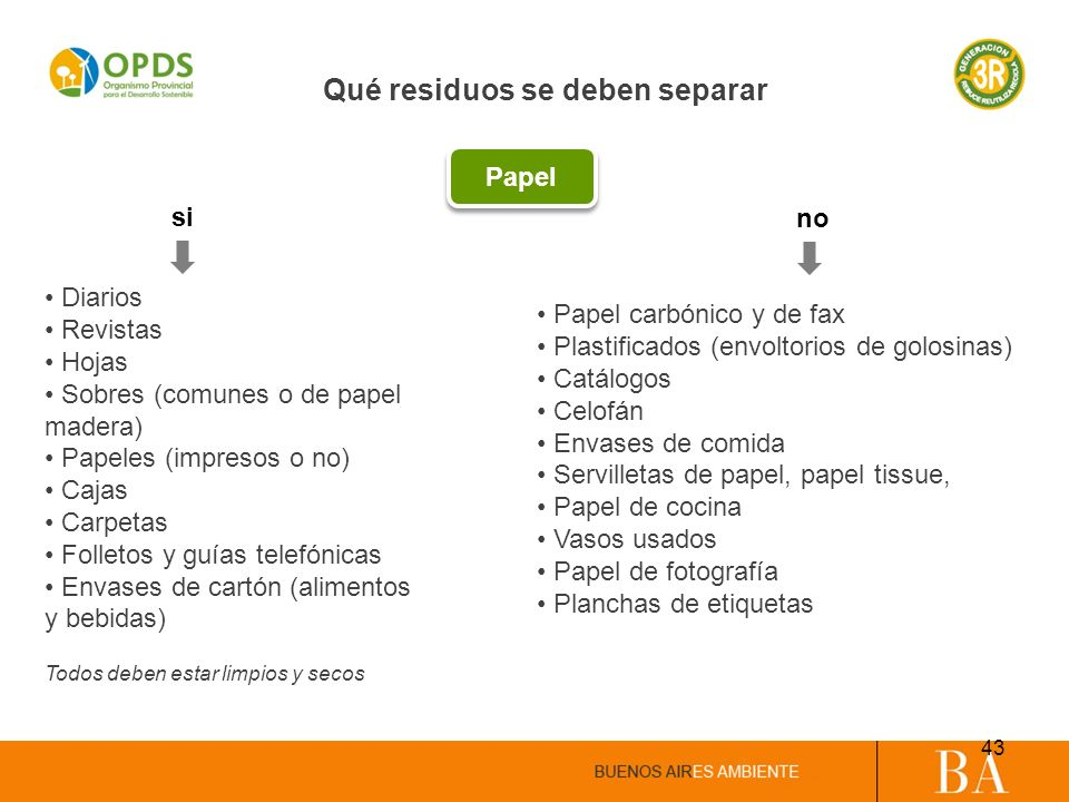 Diarios Revistas Hojas Sobres (comunes o de papel madera) Papeles (impresos o no) Cajas Carpetas Folletos y guías telefónicas Envases de cartón (alime