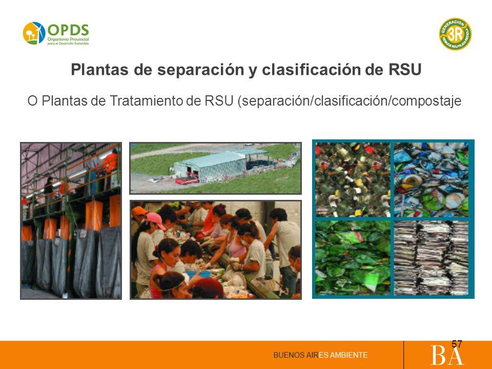 Plantas de separación y clasificación de RSU O Plantas de Tratamiento de RSU (separación/clasificación/compostaje 57