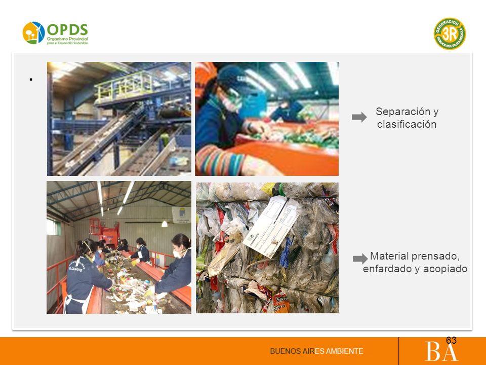 . Separación y clasificación Material prensado, enfardado y acopiado 63