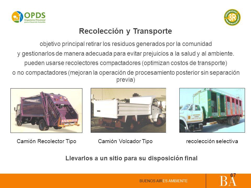 Recolección y Transporte objetivo principal retirar los residuos generados por la comunidad y gestionarlos de manera adecuada para evitar prejuicios a