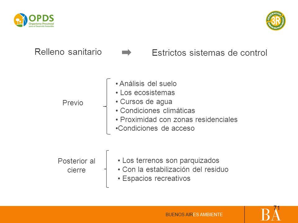 Relleno sanitario Estrictos sistemas de control Análisis del suelo Los ecosistemas Cursos de agua Condiciones climáticas Proximidad con zonas residenc