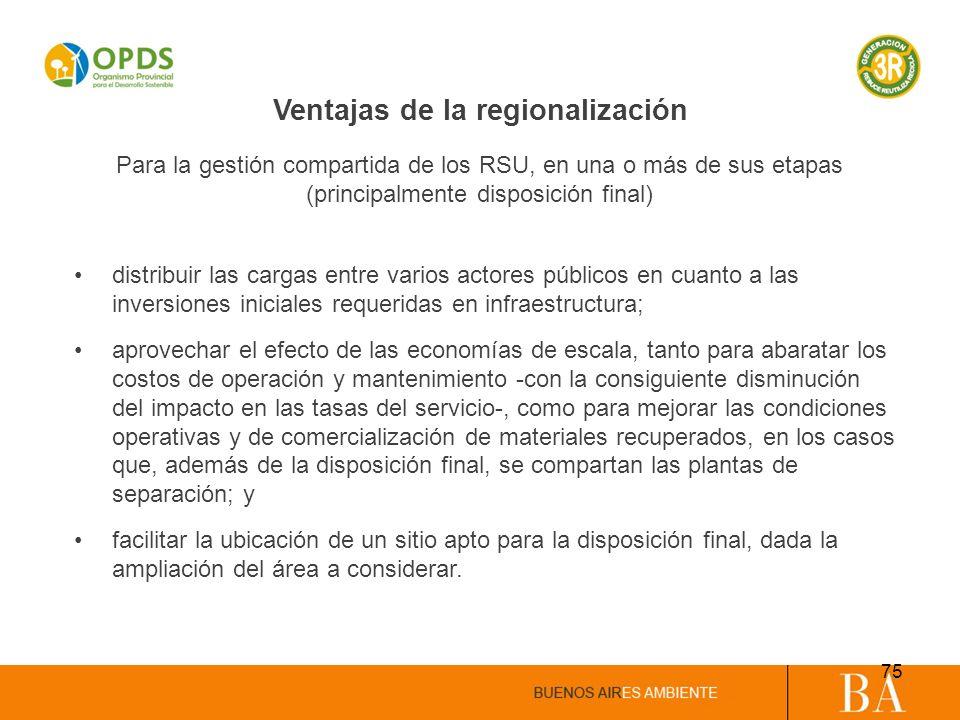 Ventajas de la regionalización distribuir las cargas entre varios actores públicos en cuanto a las inversiones iniciales requeridas en infraestructura