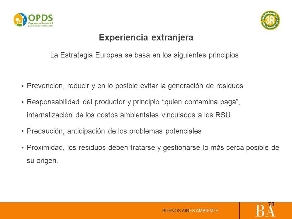 Experiencia extranjera Prevención, reducir y en lo posible evitar la generación de residuos Responsabilidad del productor y principio quien contamina