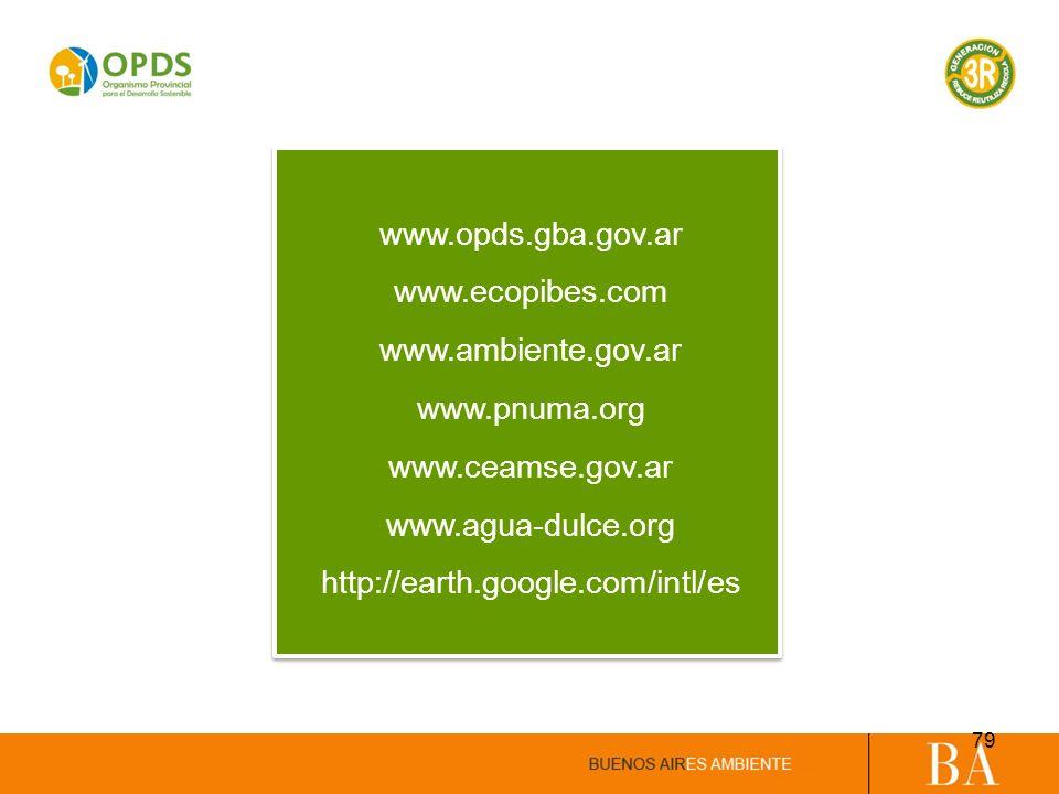 www.opds.gba.gov.ar www.ecopibes.com www.ambiente.gov.ar www.pnuma.org www.ceamse.gov.ar www.agua-dulce.org http://earth.google.com/intl/es 79