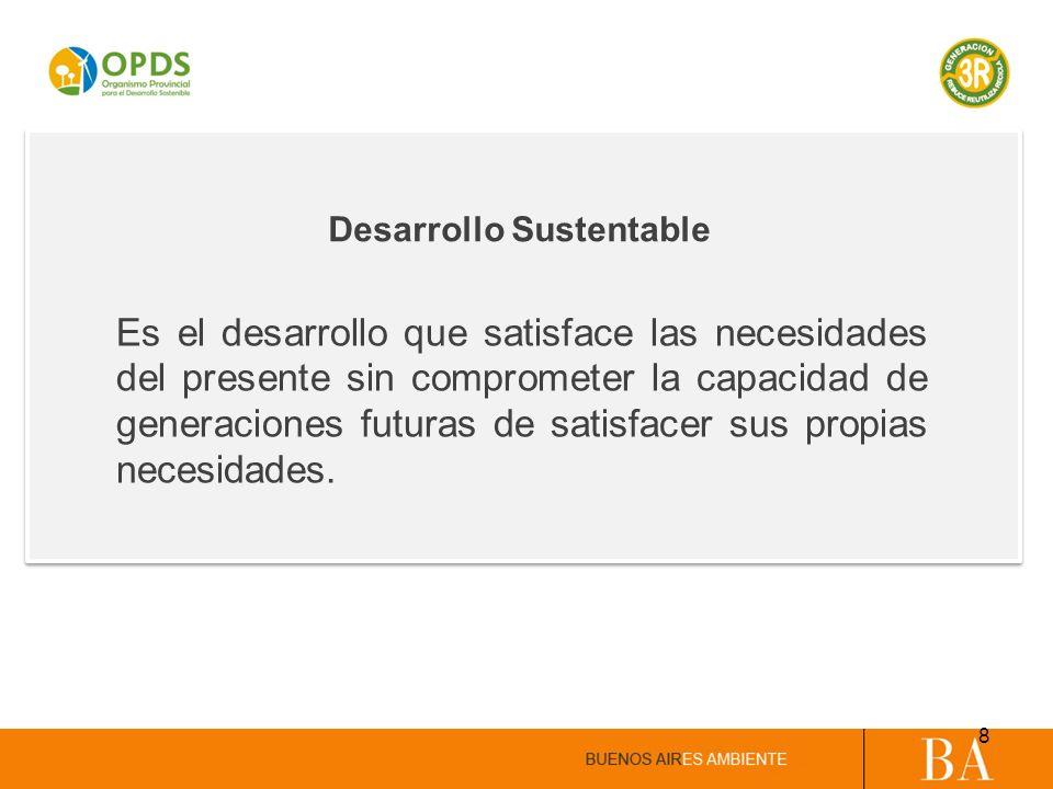 Desarrollo Sustentable Es el desarrollo que satisface las necesidades del presente sin comprometer la capacidad de generaciones futuras de satisfacer